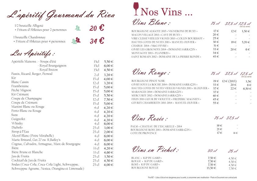 Carte Restaurant Boisson.Carte Boissons Riva 2016 2 Le Riva